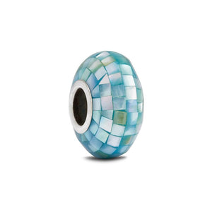 Aqua Mother of Pearl Spacer Bead - Fenton Glass Jewelry