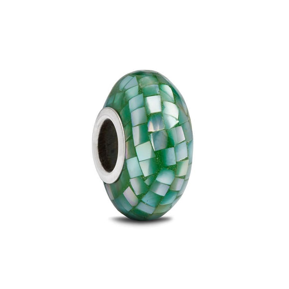 Green Mother of Pearl Spacer Bead - Fenton Glass Jewelry