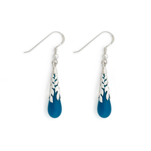 """Atlantis"" Leaf Teardrop Earrings - Fenton Glass Jewelry"