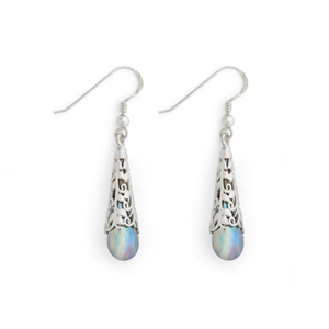 """Aurora"" Vine Capped Teardrop Earrings - Fenton Glass Jewelry"