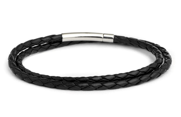 Braided Double Wrap Leather Bracelet in Black - Fenton Glass Jewelry