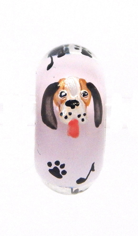 Elvis Hound Dog with Black Paws Hand Decorated Glass Bead