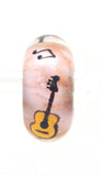 Elvis Yellow Guitar Hand Decorated Glass Bead