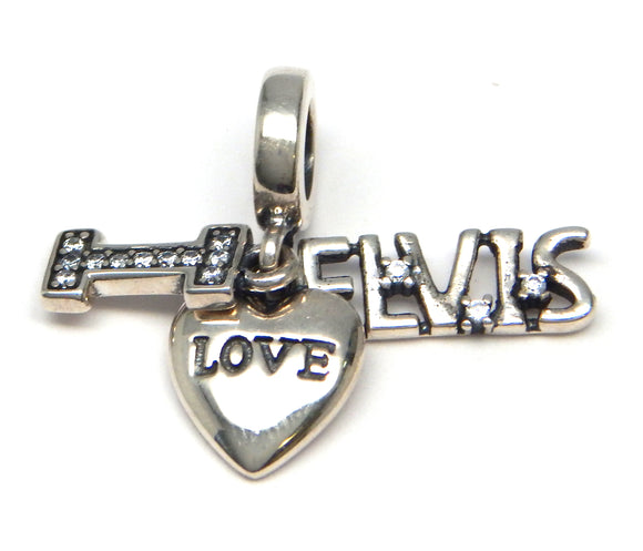 I Love Elvis Crystal Heart Charm