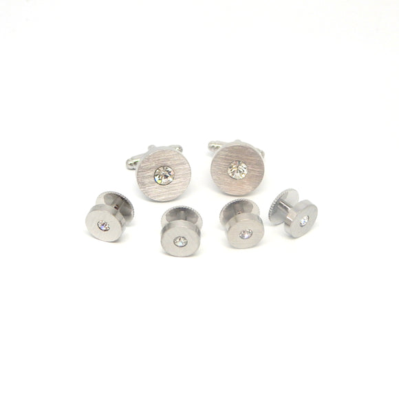 Brushed Silver Crystal Formal Stud Set