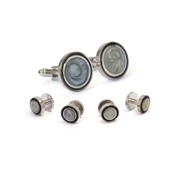Rhodium Plated Swirl Stone Formal Stud Set