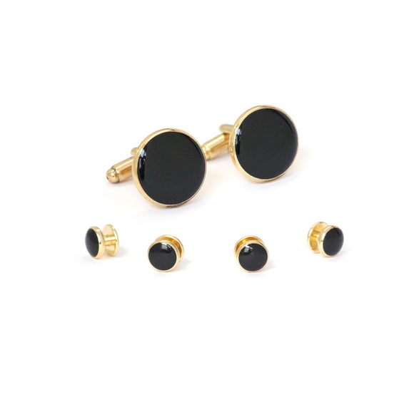 Gold Plated Onyx Formal Stud Set