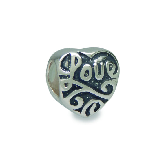 Engraved Heart Spacer Charm