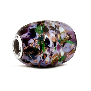 """African Violet"" Glass Cornerstone Bead - Fenton Glass Jewelry"