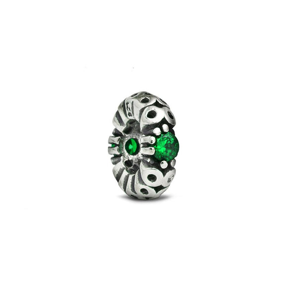 Green Crystal Accent Spacer Charm - Fenton Glass Jewelry