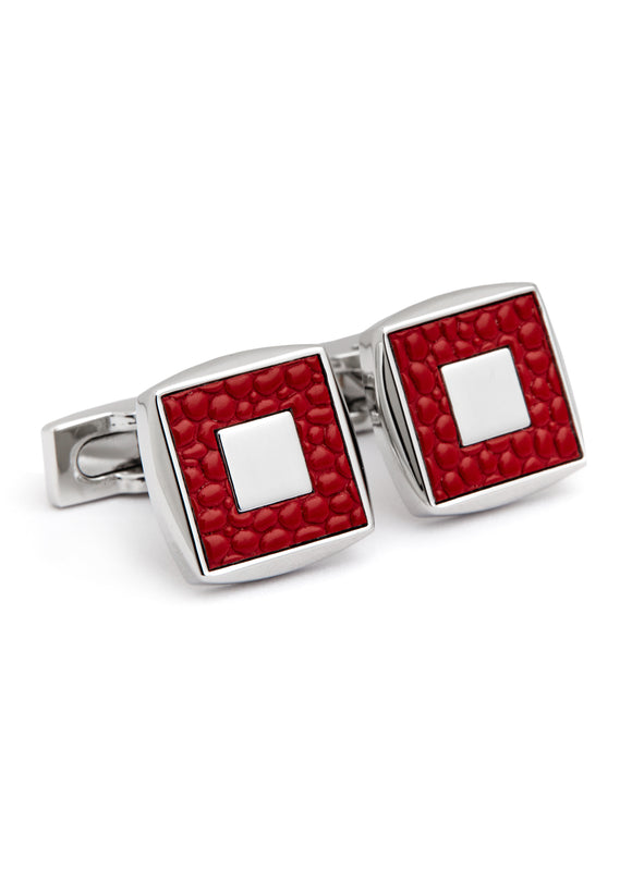 Rhodium Plated with Red Leather Cufflink
