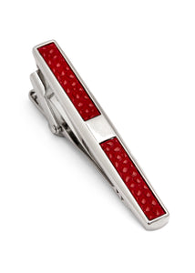Rhodium Plated with Red Leather Tie Bar