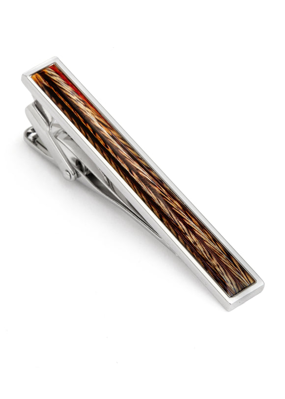 Rhodium Plated Colorful Feather Design Tie Bar