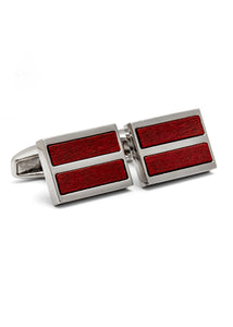 Rhodium Plated Red Wood Cufflink