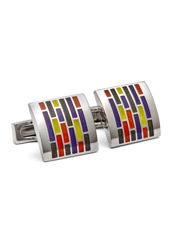 Enamel Rhodium Plated Cufflinks