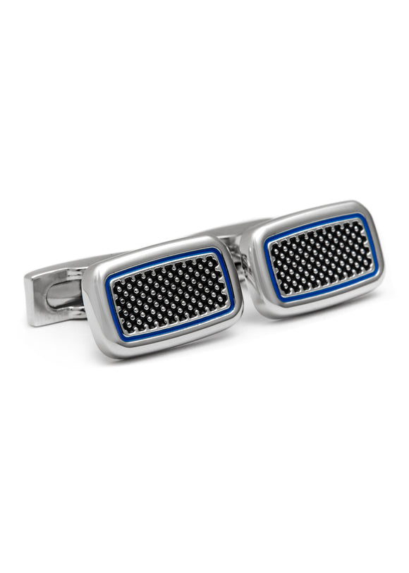 Rhodium Plated Cufflink with Black & Blue Enamel
