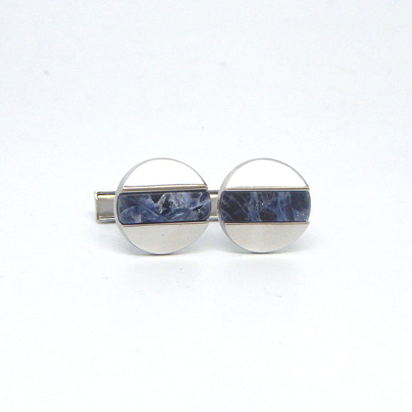 Rhodium Plated Lapis Stripe Cufflinks