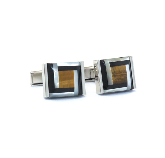 Abstract Onyx and Mother of Pearl Cufflinks