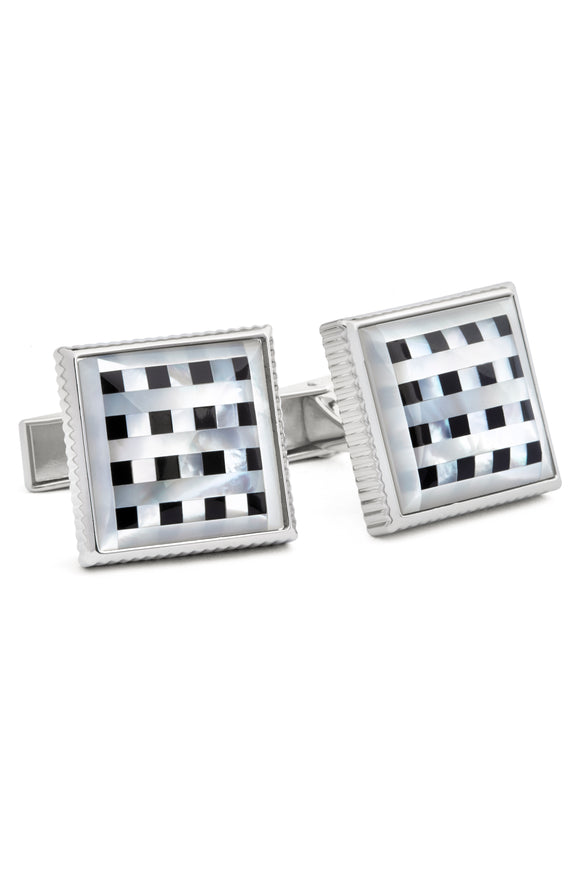 Checkered Onyx and Mother of Pearl Cufflinks