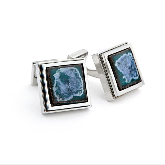 Artisan Green Ceramic Cufflinks