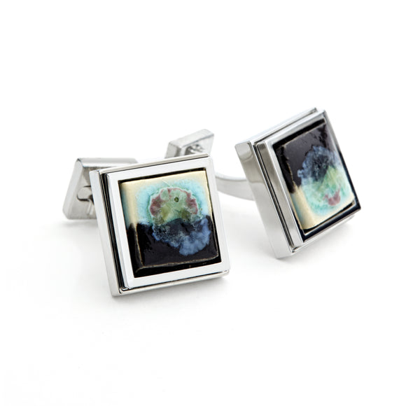 Artisan Black & White Ceramic Cufflinks