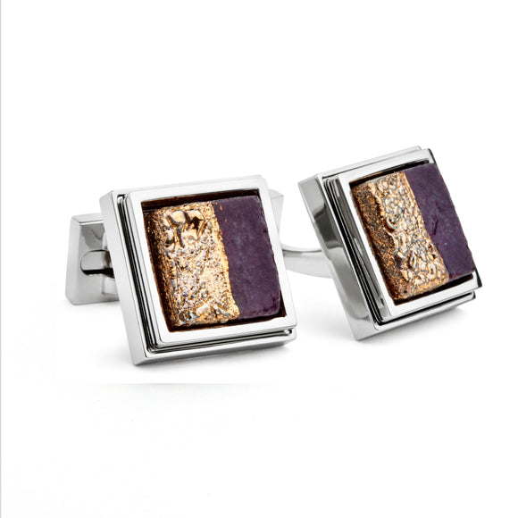 Artisan Gold & Burgundy Ceramic Cufflinks
