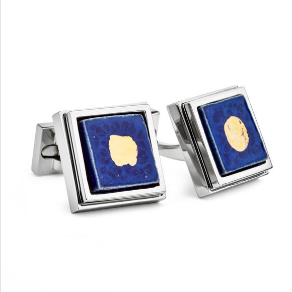 Artisan Blue Ceramic Cufflinks