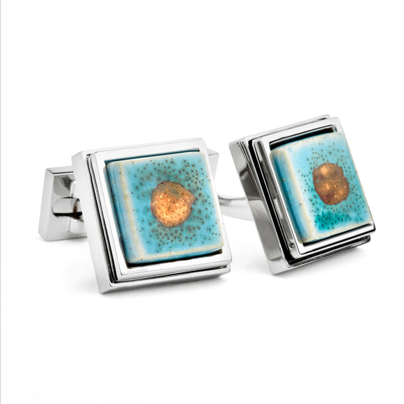 Artisan Teal Ceramic Cufflinks