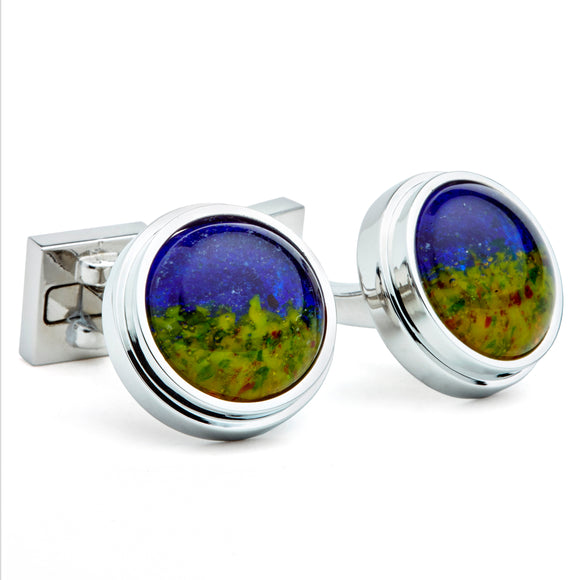 Artisan Green & Blue Ceramic Cufflinks