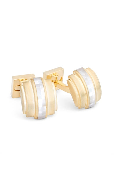 Gold Plated Mosaic Accent Cufflinks