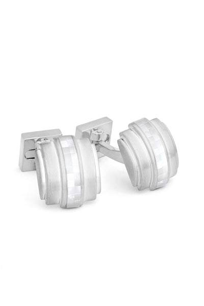 Rhodium Plated Mosaic Accent Cufflinks