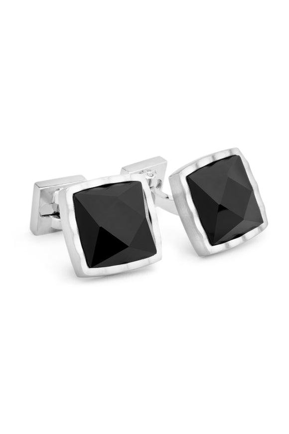 Black Faceted Onyx Cufflinks