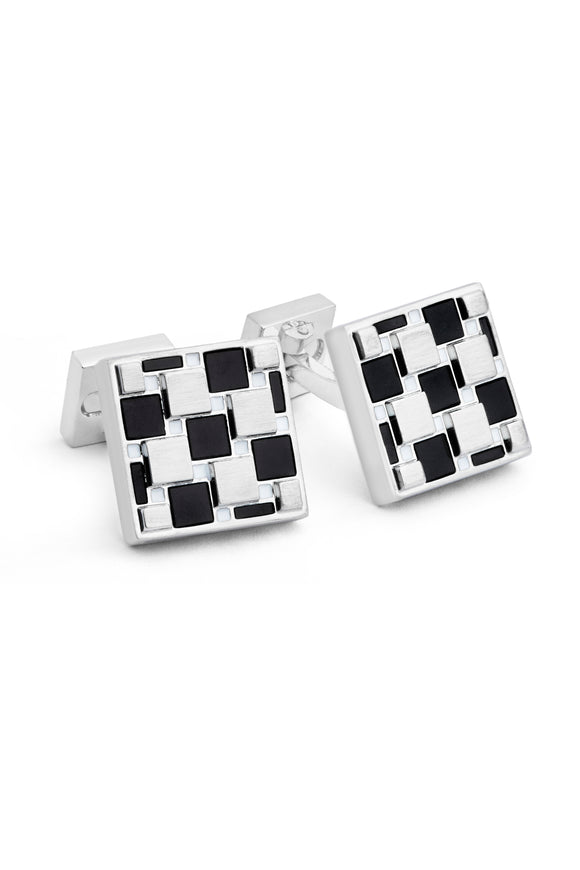 Tiled Pattern Onyx Cufflinks