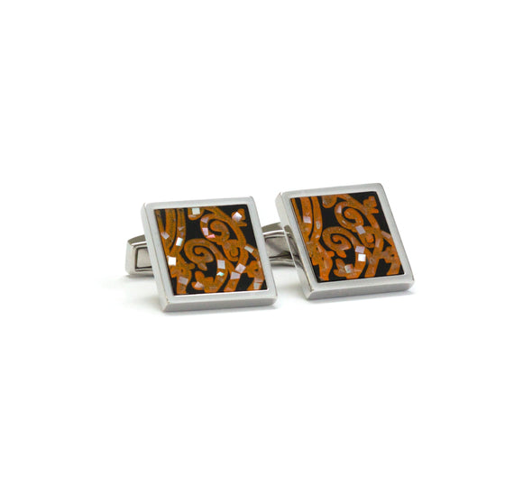Black and Gold Mosaic Cufflinks