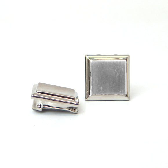 Rhodium Plated Simple Square Button Covers