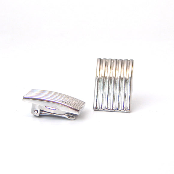 Rhodium Plated Ridged Rectangular Button Covers