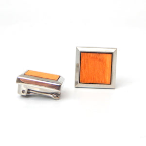 Rhodium Plated Bright Wood Button Covers