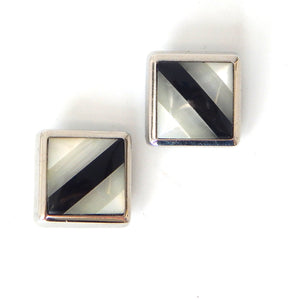 Pearl and Onyx Striped Button Covers
