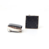 Rhodium Plated Speckled Onyx Button Covers
