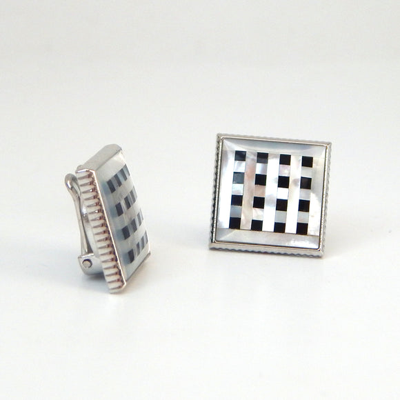 Rhodium Plated Checkered Button Covers