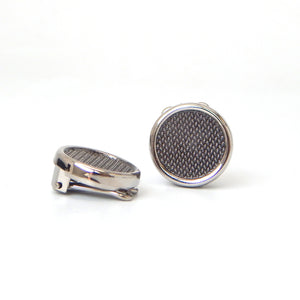 Silver Textured Circle Button Covers