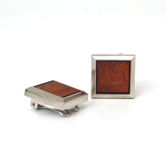 Rhodium Plated Wooden Square Button Covers
