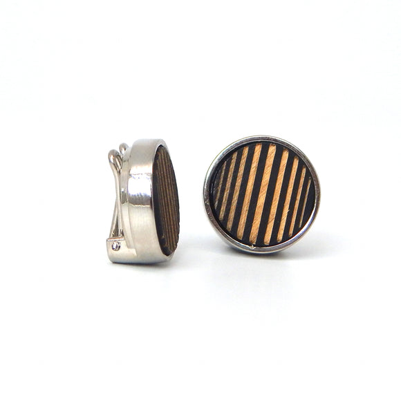 Rhodium Plated Striped Wood Button Covers