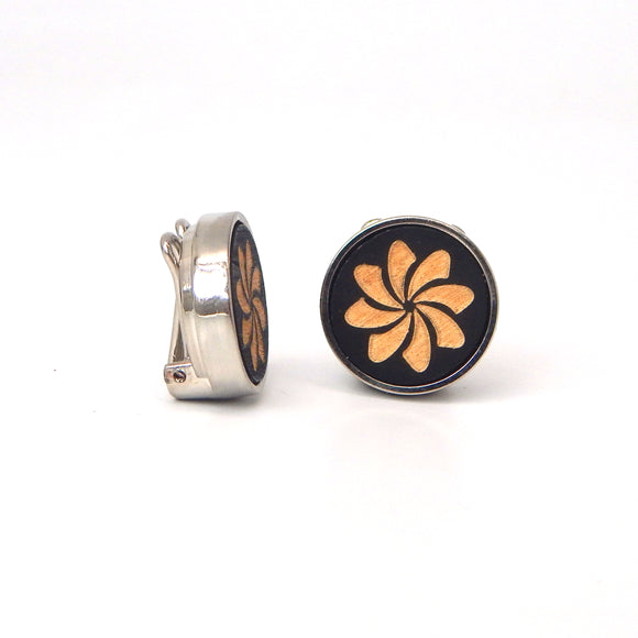 Rhodium Plated Wooden Swirl Button Covers