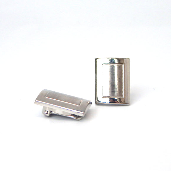 Rhodium Plated Rectangular Button Covers
