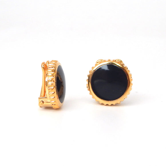 Gold Plated Onyx Button Covers