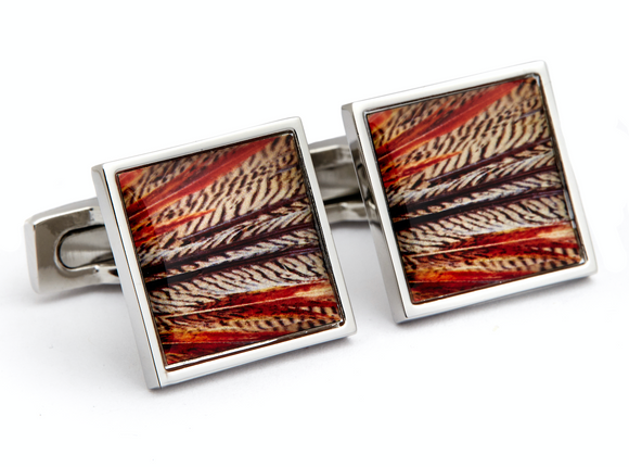 Rhodium Plated Colorful Red Feather Design Cufflink