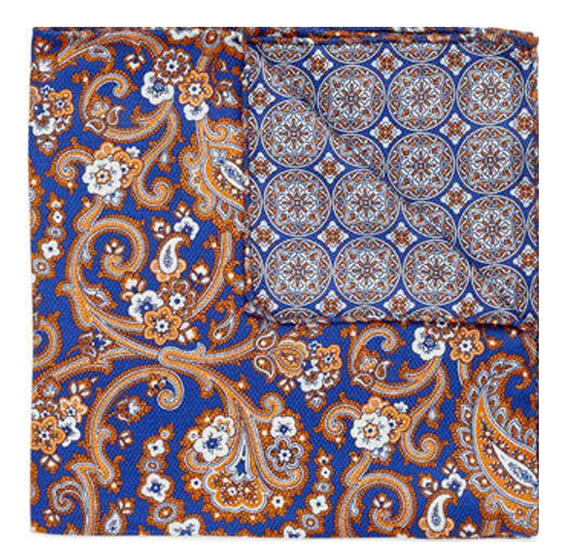 Navy & Orange Paisley Pocket Square