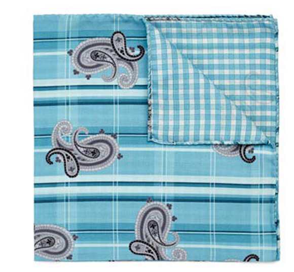 Teal Paisley & Plaid Pocket Square