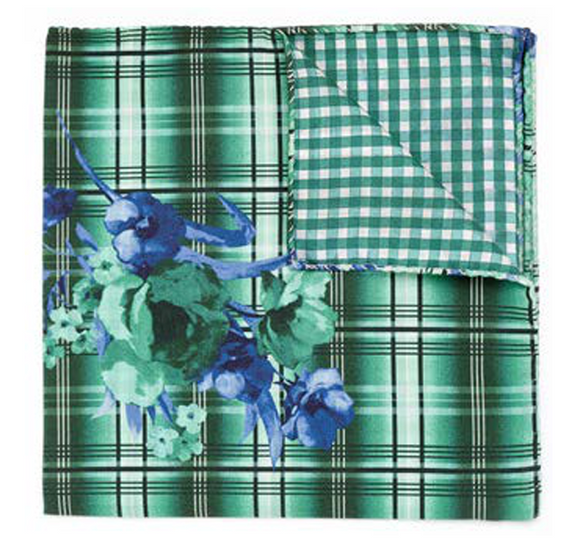 Green Plaid & Floral Pocket Square